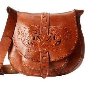 Patricia Nash Tooled Gravina Brown Saddle Bag
